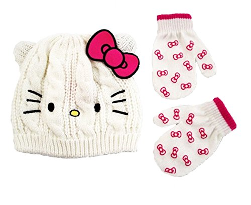 Hello Kitty Little Girls Toddler Beanie Hat & Mitten Set, White, One -