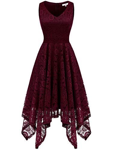 Dressystar 0036 Vintage Lace V-Neck Asymmetrical Handkerchief Hem Cocktail Formal Swing Dress XS Burgundy