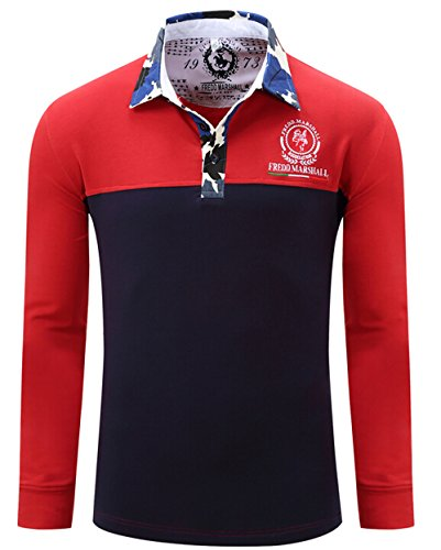 T Shirts, Cokle Mens Long Sleeve Tee Lapel Casual Fit Polo Red - Cheap Us Polo