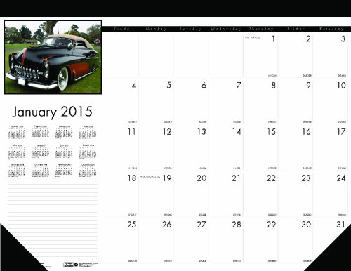 696 Classic Cars Photographic Monthly Desk Pad Calendar, 18-1/2 x 13, 2015 (Monthly Side Desk Pad)