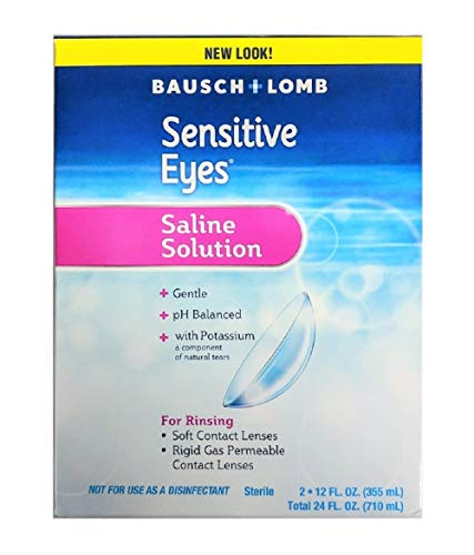 Contact Lens Solution by Bausch & Lomb, Sensitive Eyes Solution for Soft Contact & Gas Permeable Lenses, Saline Solution…
