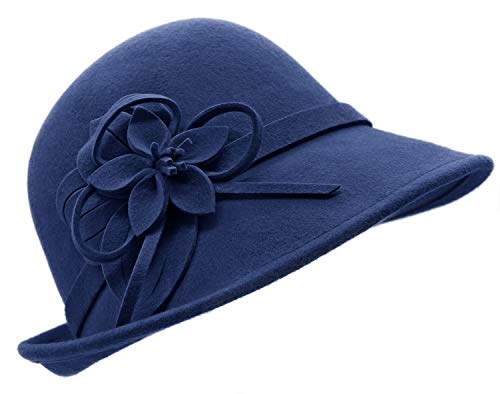 Bellady Women's Elegant Flower Wool Cloche Bucket Bowler Hat,Style2_Navy
