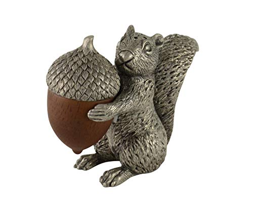 (Vagabond House Pewter Squirrel with Wood Acorn Salt and Pepper Shaker Set; 3