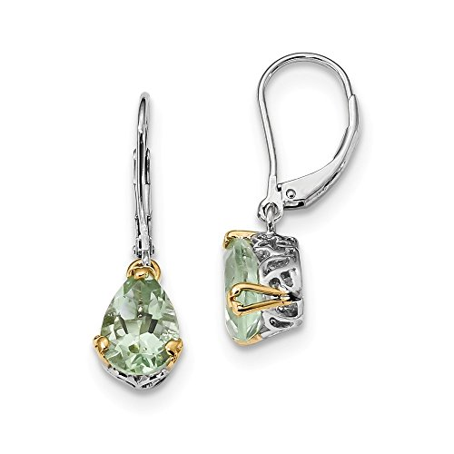 Perfect Jewelry Gift Sterling Silver & 14K Green Quartz Leverback Earrings