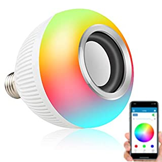 Asiawill E27 Wireless Bluetooth LED Music RGBW Light Bulb Speaker Lamp App Controlled Smart LED Colorful Lamp Smart Music Audio Bluetooth Speaker Bulb