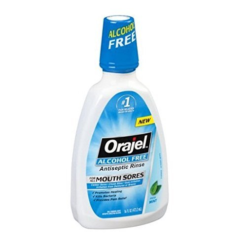- Orajel Alcohol-Free Antiseptic Mouth Sore Rinse, Fresh Mint, 16 Fl Oz (Pack of 2)