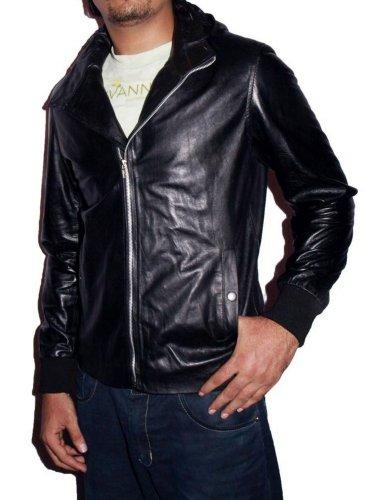HLS Men's Rick Hoody Faux Black Leather Jacket