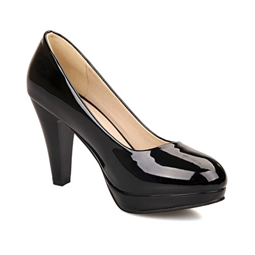 Balamasa Womens Pull On High Heels Solid Pumps Shoes Black
