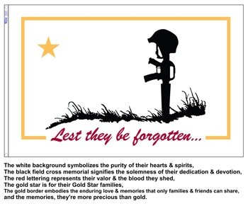 """Lest They Be Forgotten Flag """"A Flag For The Fallen"""" 3ft x 5f"""