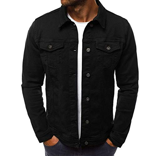 (Men Fashion Button Down Trucker Vintage Denim Jacket Autumn Winter Coat (Black, Medium(US)
