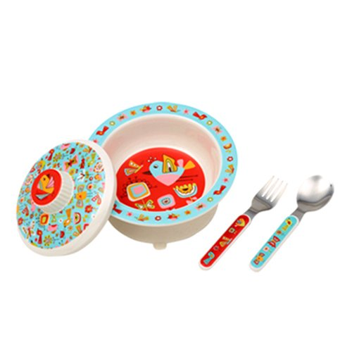 Sugarbooger Covered Suction Bowl Gift Set, Birds & Butterflies by SUGARBOOGER