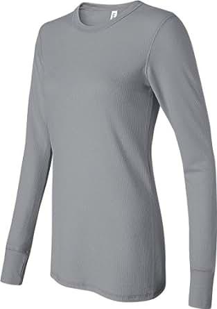 Bella Ladies' Long-sleeve Thermal Tee in Granite - XX-Large