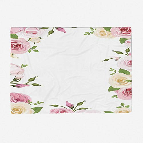 Super Soft Throw Blanket Custom Design Cozy Fleece Blanket/Perfect for Couch Sofa or Bed/49x39 inches/Roses Decorations,Roses and Lisianthus Flowers Birthday Greetings Summertime Happy Times Theme Ima