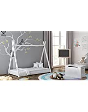 Barnsängar för hem i massivt trä, enkel himmelssäng - Titus tältstil för barn småbarn junior - ingen madrass ingår