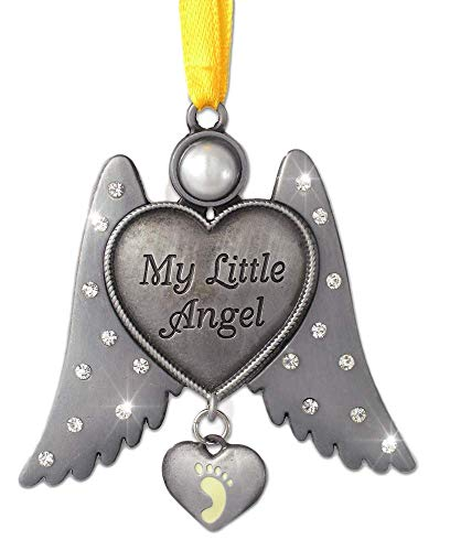 BANBERRY DESIGNS Jeweled Angel Ornament with Hanging Baby Footprint Heart Shaped Charm - My Little Angel - Newborn Baby Gift - Pewter Metal 3 Inch