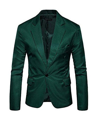 Formelle Foncé Blazer Costumes Hommes Vert Manteau Veste ERBw66qxZ