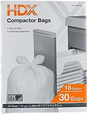 HDX 18 Gallon 2.5 Mil Trash Compactor Bags ... - Amazon.com