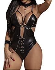 Zainafacai Lingerie for Women, Womens One Piece Lingerie Bodysuit Leather Mesh Halter Backless Babydoll Lace Teddy Nightie