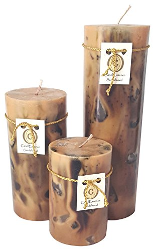 Scented Handmade Candle - Handmade Scented Candle - Long Burning Pillar - Sandalwood Scent (Set of 3)