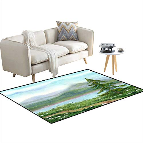 - Extra Large Area Rug Watercolor Landscape Spruce Near Trail on Hill 48