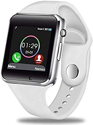 GBVFCDRT Hombres Mujeres Reloj Smart Watch Bluetooth Soporte Tarjeta Sim Deporte Podómetro Reproductor de música Smartwatch para Android iOS , Blanco