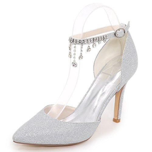 Handgemachte Platform Elobaby Strasssteine Frauen Party Satin Niedrige Bridal 9 5cm Hochzeitsschuhe Ferse Kätzchen 8qUwr8I