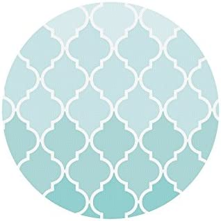 InterestPrint Moroccan Tile Quatrefoil Aqua Teal Fade Round Non Slip Rubber Mouse Pad Gaming Mousepad Mat with Designs
