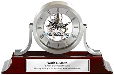 AllGiftFrames Personalized Engraved Silver Da Vinci Dial Cherry Mantle Desk Wood Clock. This Clock, Employee Service Award and Retirement Gift Includes a Personalized Silver Engraving Plate.