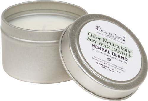 Aroma Paws Odor Neutralizing Candle in Tin, 4-Ounce, Herbal