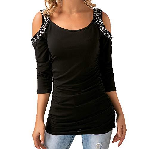 - Baigoods Clearance Sales! Women Fashion Casual Solid Three Quarter Rhinestone O-Neck T-Shirt Top Blouse