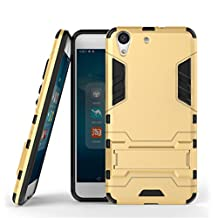 """Huawei Y6II Case,Honor 5A Case,Gift_Source [Kickstand] Hybrid Dual Layer Armor Defender Full Body Protective Case Soft TPU and Hard PC Rugged Cover Case For Huawei Y6II/Honor 5A 5.5"""" [Gold]"""