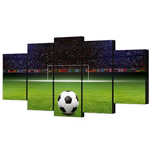 (VVOVV Wall Decor - 5 Piece Canvas Art Soccer Ball on Green Huge Football Field With Soccer Gate Picture Poster Sports Wall Decor for Kids Bedroom)