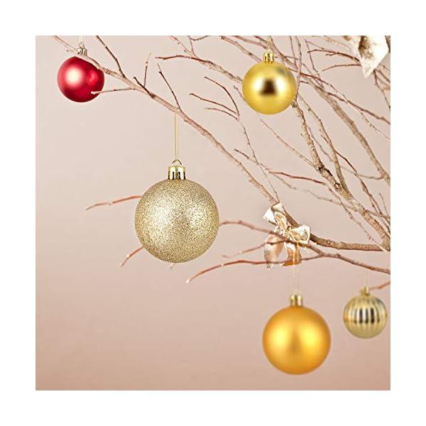 himaly 32 Pezzi Tradizionale Rosso e Oro Accessori per la Decorazione Palle di Natale Anti Goccia con Imbracatura,Adatto per Natale, Matrimonio, Fidanzamento, Anniversario, Festa 6 spesavip