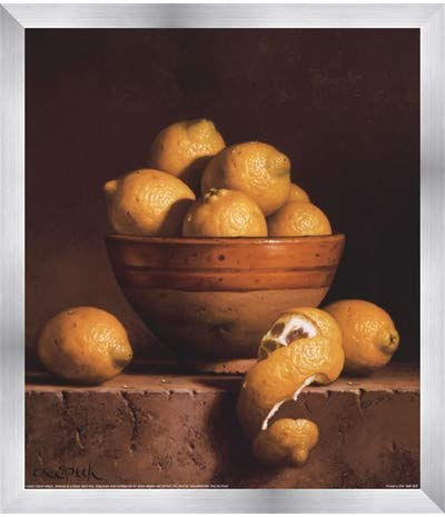 - Poster Palooza Framed Lemons in a Bowl with Peel- 12x14 Inches - Art Print (Stainless Steel Frame)