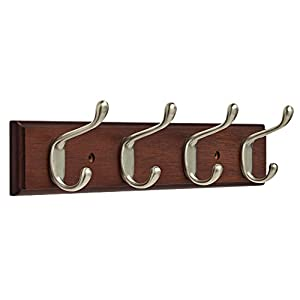 """Franklin Brass FBHDCH4-511-R, 16"""" Hook Rail / Rack, with 4 Heavy Duty Coat and Hat Hooks, in Bark & Satin Nickel"""