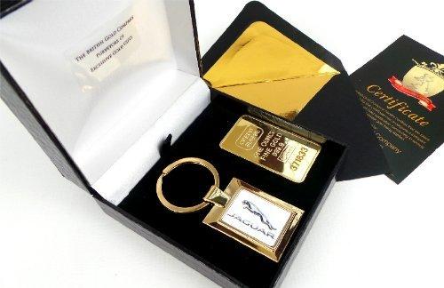 the-british-gold-company-24k-gold-finished-jaguar-keyring-plus-credit-suisse-1-oz-gold-bar-ingot-in-