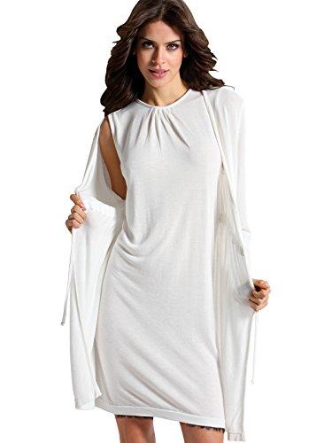 Bianco in Made Viscosa Manica Cordinato Senza Donna Vestito Seamless Senza Cuciture Lana SENSI' Lunga Cardigan Casual maniche Italy n46Zggz