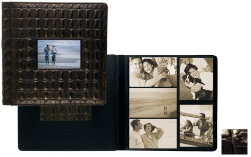 NILE BLACK crocodile print fine leather #113 window album with 5-at-a-time pages by Raika - 4x6