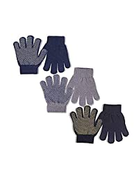 EvridWear Boys Magic Stretch Gripper Gloves 3 Pair Pack Assortment, Kids One Size Winter Warm Gloves Children