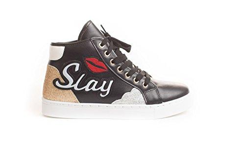Soho Chaussures Nouvelles Femmes Lacets Décontracté Haut Top Slay Décontracté Sneaker Chaussures Noir