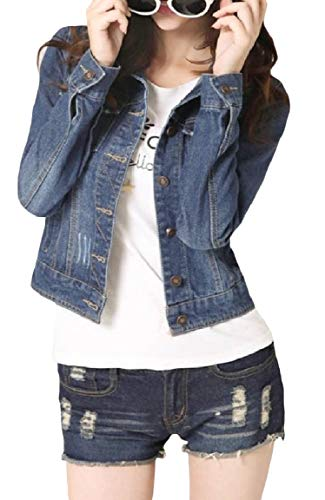 Coat Blue Sleeve Long Button Dark Mini Short Mogogo Women's Denim Jacket Pocket Oversized zZxfx7wq