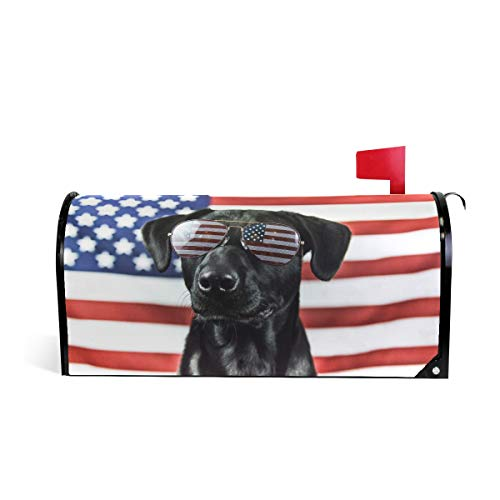 senya Magnetic Mailbox Cover Large Size, Black Lab Dog and American Flag Mailbox Cover Oversized