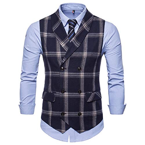 (Mens Slim Fit Dress Vest Formal Turn Down Collar Premium Button Down Vest Mens Vest Waistcoat Navy)
