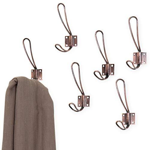 Oval Hook Set - MyGift Copper-Tone Metal Wall-Mounted Dual-Prong Coat Hooks, Set of 6