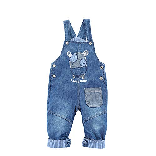 BABYPEP Baby and Little Boys/Girls Jeans Jumpsuit Embroidered Cartoon Soft Denim Overalls Strap (12-18 Months, Cow) ()