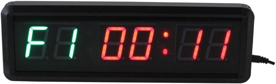 カウンター デジタイマ リモコン付きカウントダウン/アップタイマー1.5インチLEDスポーツタイミングクロック タイマー バイブ (色 : ブラック, サイズ : 28X9X3.5CM) ブラック 28X9X3.5CM