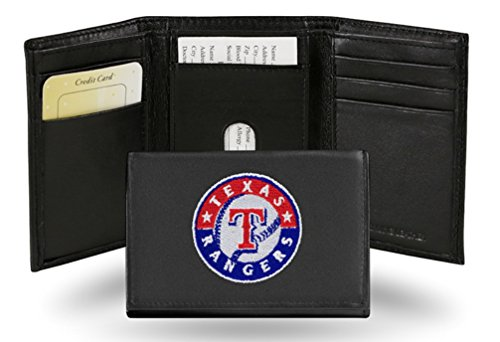 Rangers Embroidered Leather (MLB Texas Rangers Embroidered Genuine Cowhide Leather Trifold Wallet)