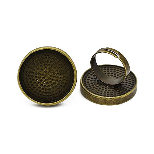 Brass Round Bezel - Pandahall 10pcs Vintage Adjustable Brass Ring Components Pad Ring Findings Alloy Flat Round Cabochon Bezel Settings Nickel Free Antique Bronze Tray: 25mm