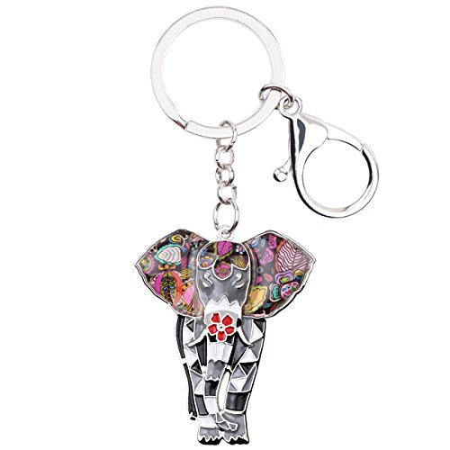 Charm Metal Keychain (BONSNY Enamel Metal Chain Jungle Elephant Key Chains For Women Car Purse Handbag Charms (Grey))