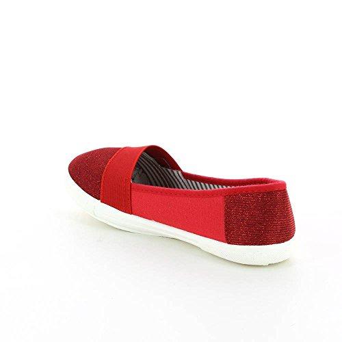 Bailarinas Rojo de tela Rojo y brillante AwxP6qwv8